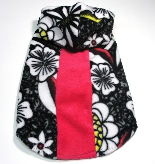 Black and White Floral Hooded Pet Coat - Large & Extra Large
