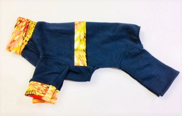 Navy Blue with Watercolor Trim Sweatshirt Jammies - Roomy Assorted Sizes