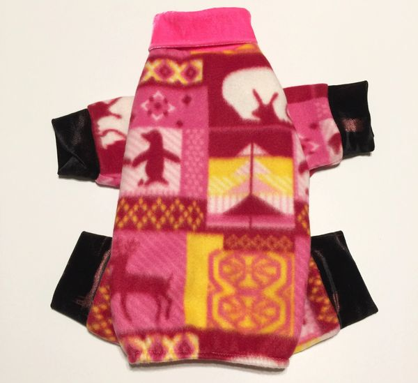 Hot Pink Holiday Fleece Pet Jammies - Roomy Assorted Sizes