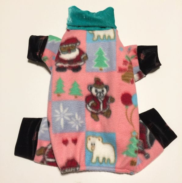 Pretty in Pink Santa Fleece Pet Jammies - Roomy Assorted Sizes