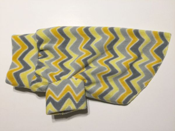 Gray and Yellow Chevron Fleece Pet Shirt - Medium