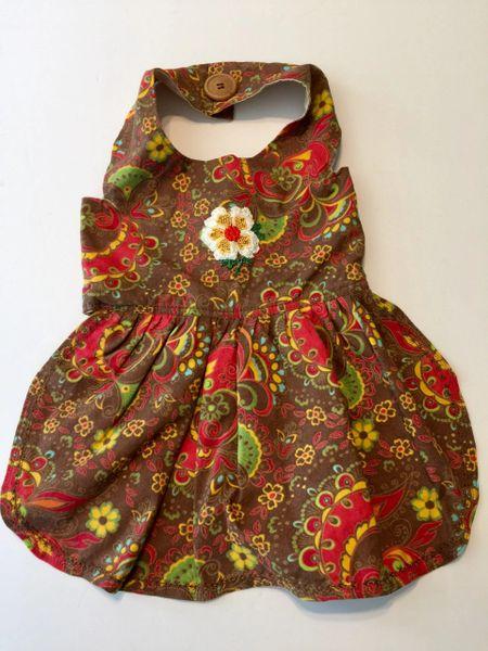 Multi-Colored Paisley Pet Dress - Medium