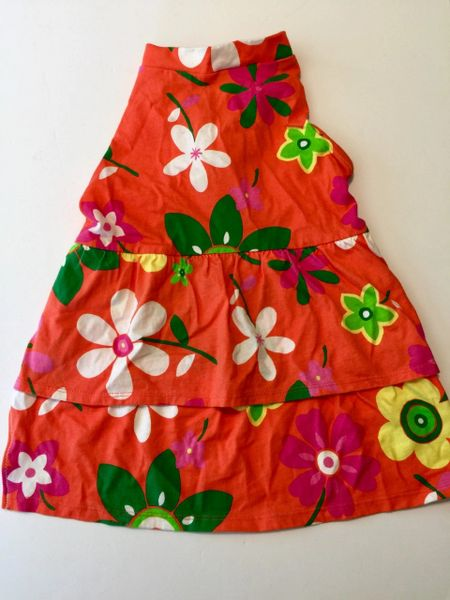 Orange Flowered Pet Dress - Medium