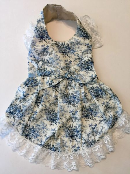 Blue Toile Pet Dress - Small