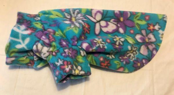 Aqua Floral Fleece Pet Shirt - Medium