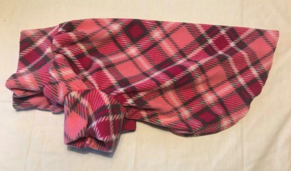 Pink Plaids Fleece Pet Shirt - Medium
