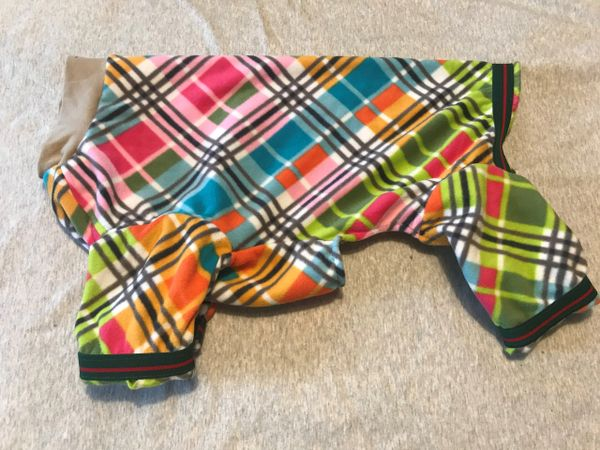 Multi Plaid Microfleece Pet Jammies - Roomy Assorted Sizes