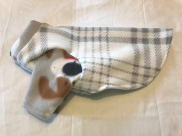 White and Gray Plaid Fleece Pet Shirt - Extra Small