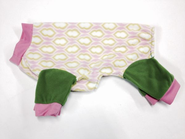 Pink and Green Pattern Fleece Jammies - ROOMY ASSORTED SIZES