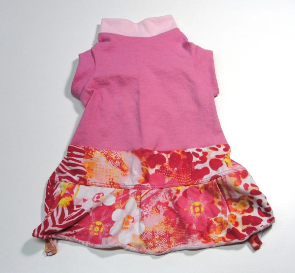 Pink Floral Sleeveless Tee Knit Pet Dress - Small
