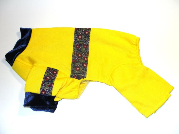 Yellow Sweatshirt with Floral Trim Pet Jammies - Roomy Assorted Sizes