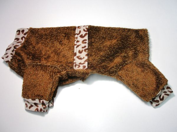 Brown Fuzzy Fleece Pet Jammies - Roomy Medium