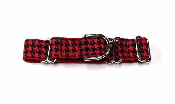 Adjustable Martingale Collar - Red Houndstooth - Large