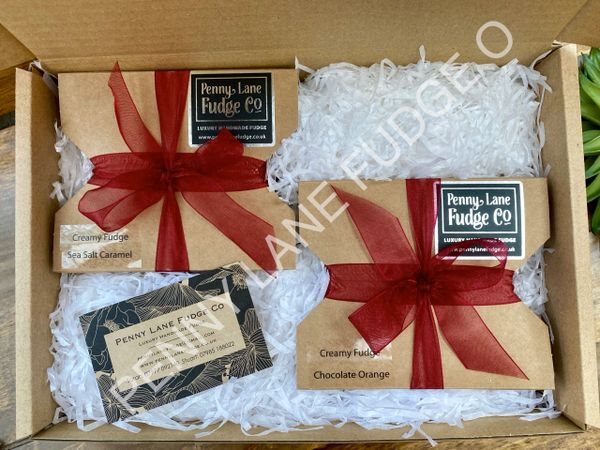 Selection Of 2 Fudge Gift Boxes In A Gift Hamper ( Gluten Free)