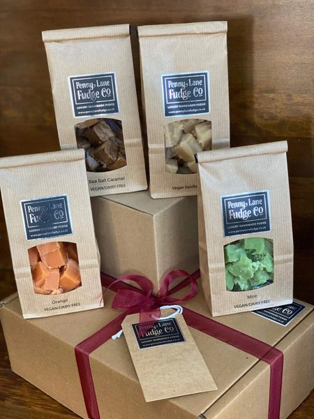 Vegan Box #3 Selection: 4 Luxury Handmade Fudge Gift Bags In A Gift Hamper (Gluten Free)