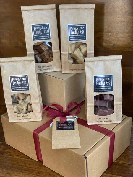 Vegan Box #2 Selection: 4 Luxury Handmade Fudge Gift Bags In A Gift Hamper (Gluten Free)