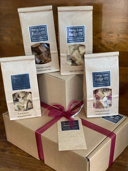 Vegan Box #1 Selection: 4 Luxury Handmade Fudge Gift Bags In A Gift Hamper (Gluten Free)