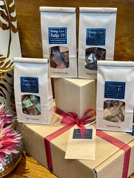 Chocolate Selection: 4 Luxury Handmade Fudge Gift Bags In A Gift Hamper (Gluten Free)