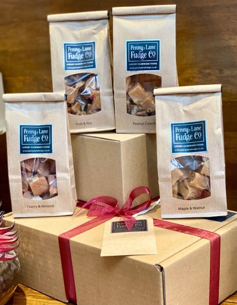 Nutty Selection: 4 Luxury Handmade Fudge Gift Bags In A Gift Hamper (Gluten Free)