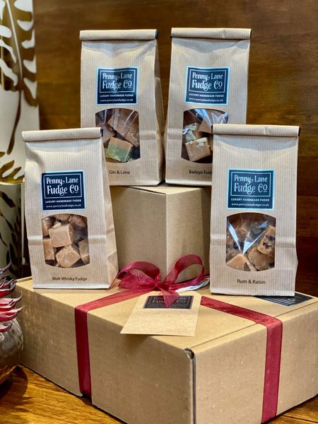 Boozy Box Selection: 4 Luxury Handmade Fudge Gift Bags In A Gift Hamper (Gluten Free)