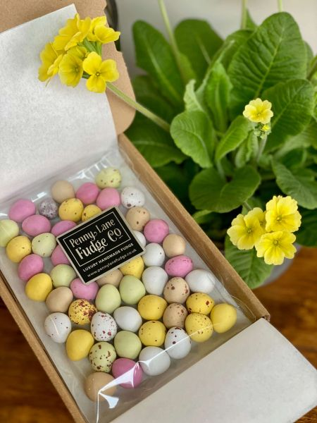Chocolate Mini Eggs in a Small Letterbox Gift Box (Vegetarian & Gluten Free)