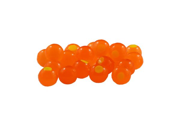 Embryo Soft Beads: Pumpkin with Chartreuse Dot