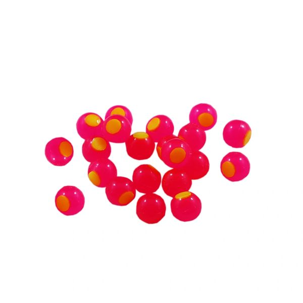 Embryo Soft Beads: Hot Pink with Chartreuse Dot