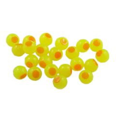 Embryo Soft Beads: Bright Chartreuse with Orange Dot.
