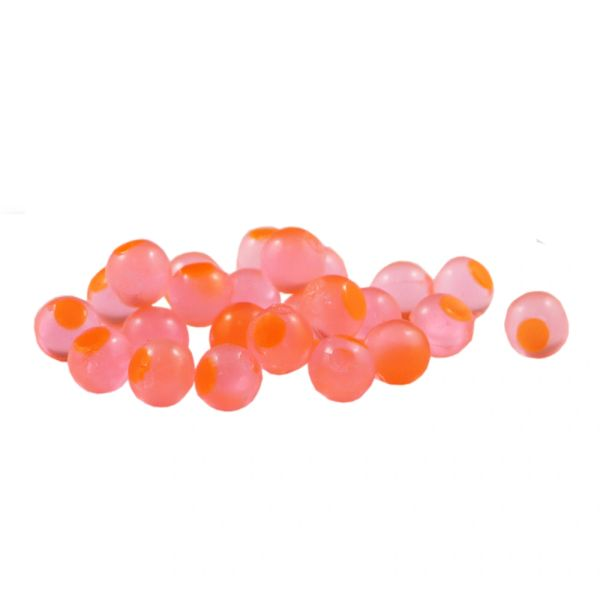 Embryo Soft Beads: Candy Apple with Orange Dot.
