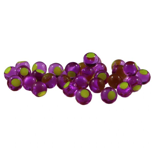 Embryo Soft Beads: Purple with Chartreuse Dot.