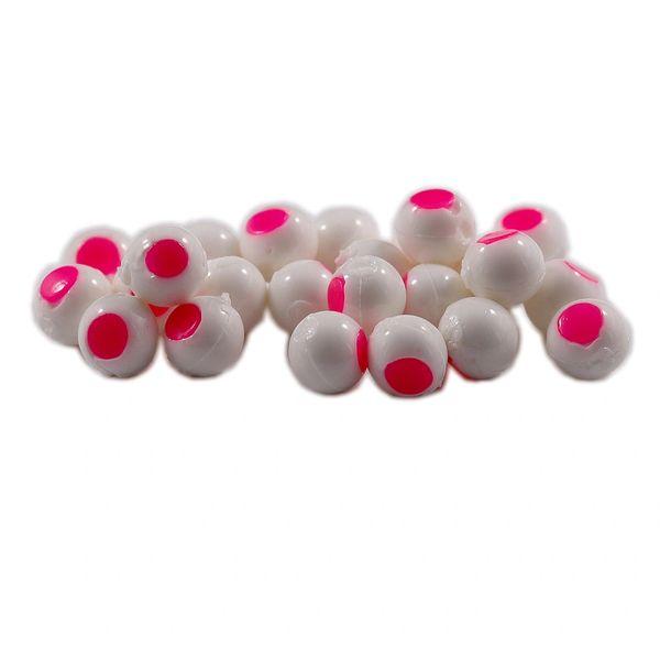 Glow Embryo Soft Beads: White with Glow Hot Pink Dot.