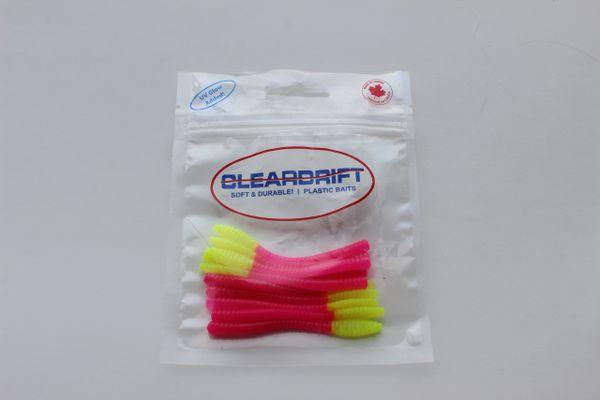 Ultra-Light Steelhead Worms: Hot Pink/Chartreuse Tail