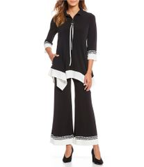 High Neck Contrast Trim Tunic & Pant Set - PLUS available