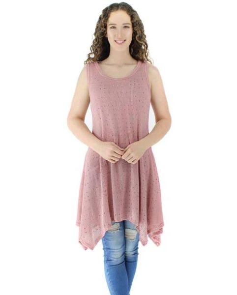 Sleeveless Rhinestone Tank Top & Matching Cardigan Dusty Rose