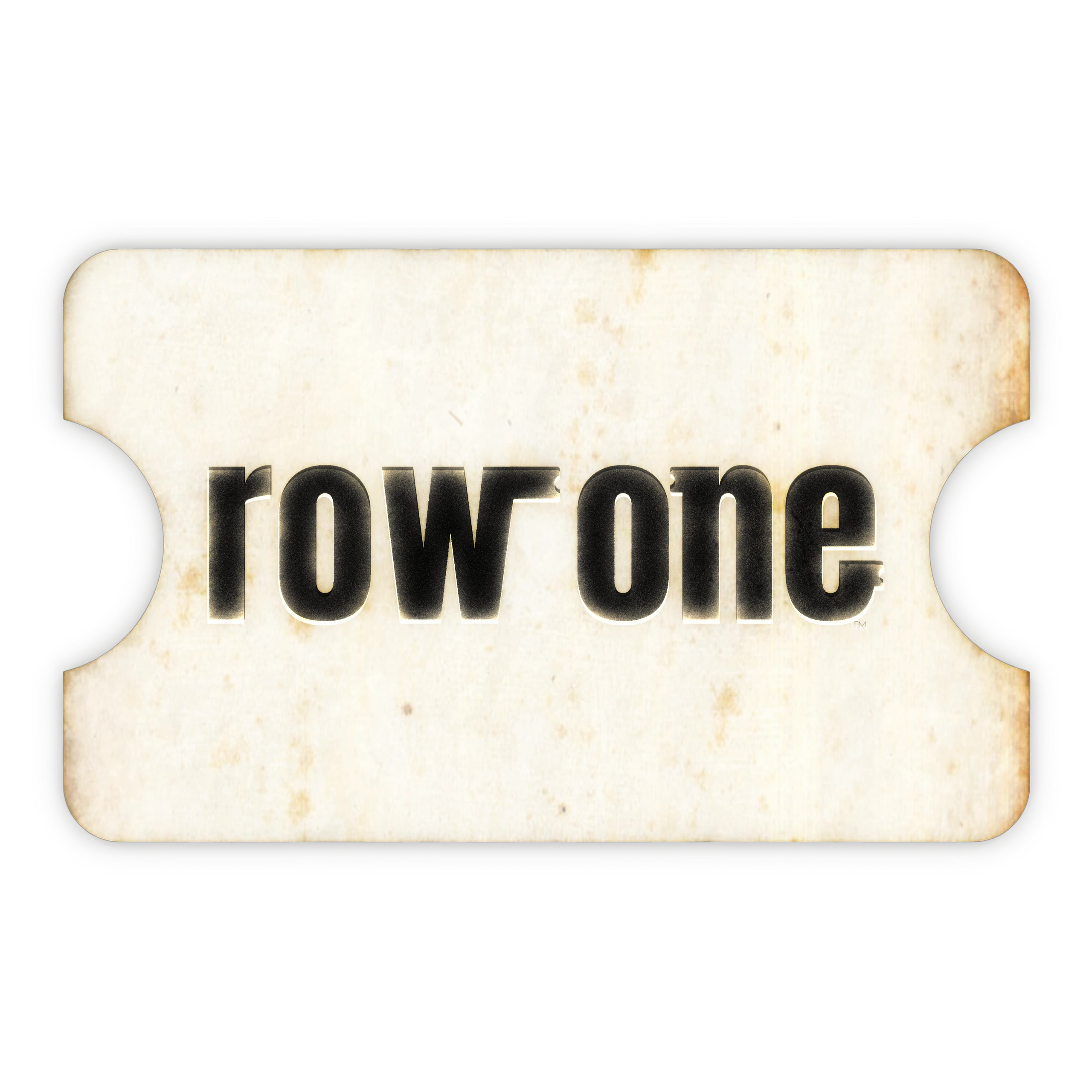 Row One Brand ticket logo. Row One sells vintage ticket stub canvas art. Row One sports art pops.
