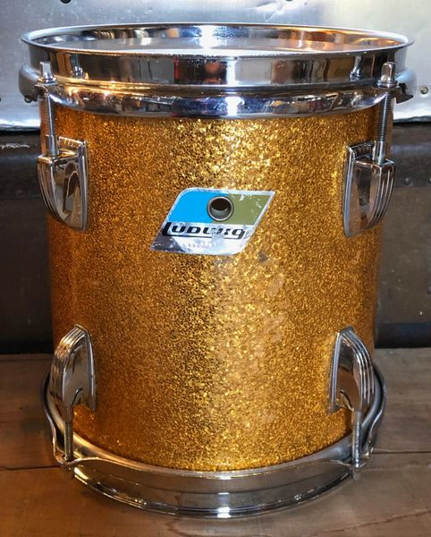 ludwig late 70 39 s gold sparkle 9x8 power tom good condition drums percussion ludwig. Black Bedroom Furniture Sets. Home Design Ideas