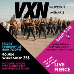VXN Dance & Sip workout with KRIS at the Motiv8nu Studio