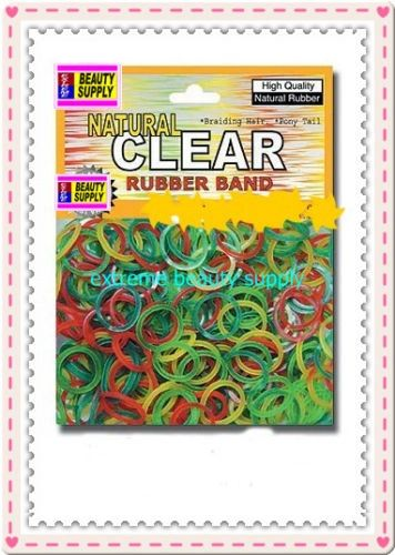 small rubber band natural clear color pony tail holder braid hair scrunchies bracelet girl cheerleader Size 1/2 inch diameter
