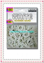 small rubber band color White pony tail holder braid hair scrunchies bracelet girl cheerleader Size 1/2 inch diameter