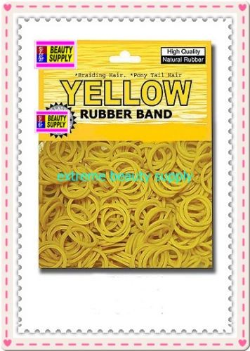 small rubber band color yellow pony tail holder braid hair scrunchies bracelet girl cheerleader Size 1/2 inch diameter