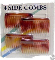 4 side combs brown size small CLIP HAIRPIN PIN Size size 1/16 x 1 x 1 3/4 inch long Designed to hold hair securely and comfortably. They are the only side-combs with touching teeth that gently grip and securely hold all hair types
