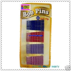 blue red purple Secure girl clip bobby cute cheerleader band bob pins rubber tips 1 7/8 inch long long 60 count