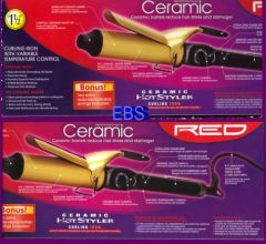 "ceramic hotstyler curling iron by red by kiss size 1 1/2 "" inch"
