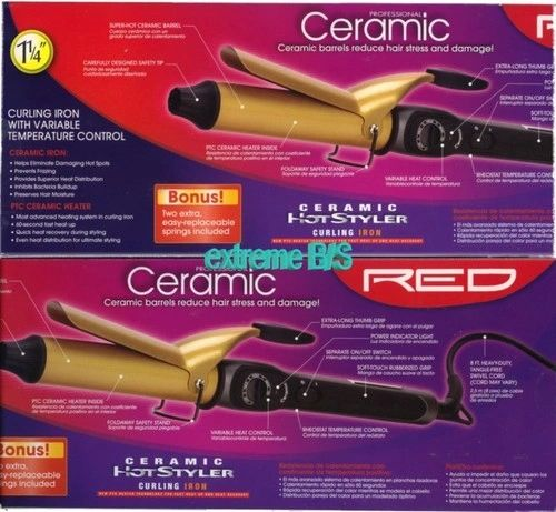 "ceramic hot styler curling iron by red by kiss size 1 1/4 "" inch"