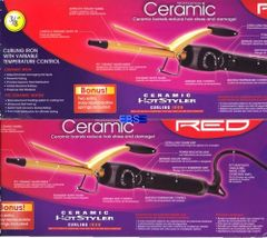 "ceramic hot styler curling iron by red by kiss size 3 / 8 "" inch round"