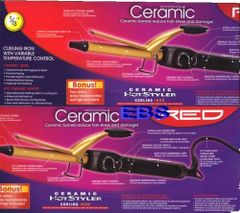 "ceramic hot styler curling iron by red by kiss size 5 / 8 "" inch round"