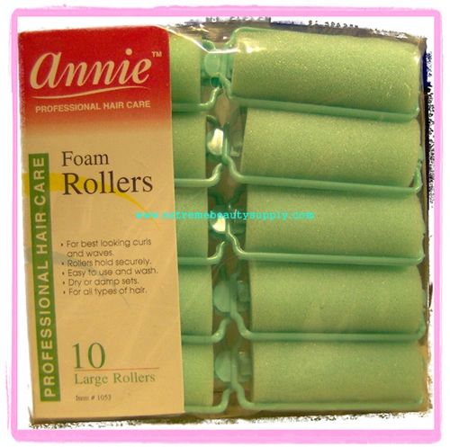 "annie Foam roller 1"" x 2 1/2"" large inch jumbo 14 count pink dry damp set green"