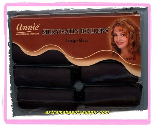 """annie silky satin fabric roller large 1 """"x 2 1/2"""" 8 count black prevent breakage"""