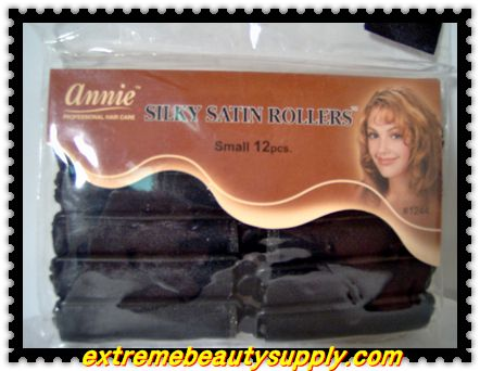 """annie silky satin fabric roller small 1/2""""x 2 1/2"""" 12 count black prevent breakage"""