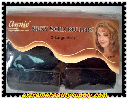 "annie silky satin fabric roller x- large 1 1/4""x 2 1/2"" 6 count black prevent breakage"